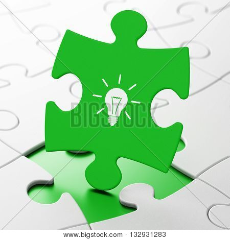 Finance concept: Light Bulb on Green puzzle pieces background, 3D rendering