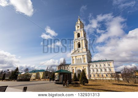 Diveevo, Russia - March 20, 2015: The bell tower of Holy Trinity-Saint Seraphim-Diveyevo Monastery. Nizhny Novgorod Region. Russia
