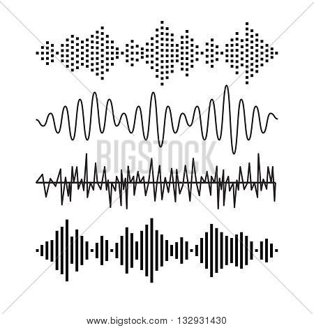 Set of sound audio waves music. EQ musical melody technology. Record vector. Musical wave form. Rocorder melody sound. Music wave elements.