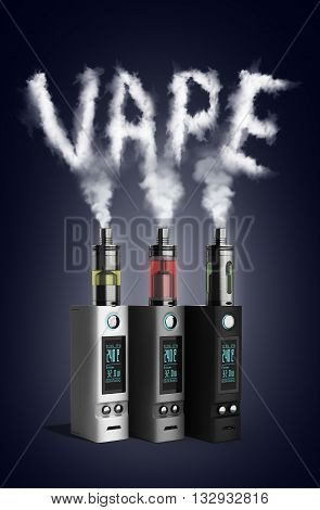 Electronic Cigaretts Device Box Mod To Smokeless Smoking 3D Render On Gradient With Vipe