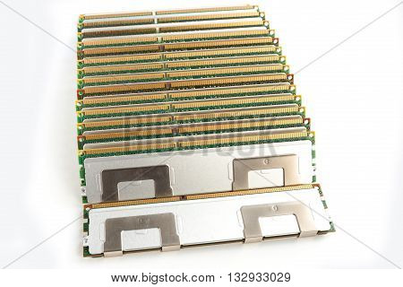 Electronic collection computer random access memory RAM modules isolated on the white background