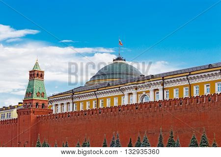 Senate tower and the Senate Palace in the Moscow Kremlin. Russia