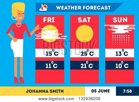 TV weather woman reporter at work standing near the news weather charts. Vector flat illustration. Good trendy colors. Text and objects could be easily removed.
