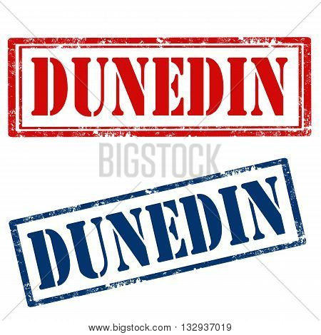 Set of stamps with text Dunedin,vector illustration