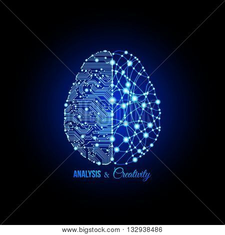 Cold analysis and bursting creativity paired together in brain and thinking concept. Human brain. Analytical brain. Creative brain. Human thinking. Analytical thinking Creative thinking.
