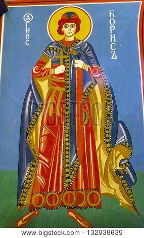 KIEV, UKRAINE - APRIL 18, 2015 Saint Mosaic Basilica Saint Michael Monastery Cathedral Kiev Ukraine. Saint Michael's is a functioning Greek Orthordox Monasatery in Kiev. Created in the 1100s
