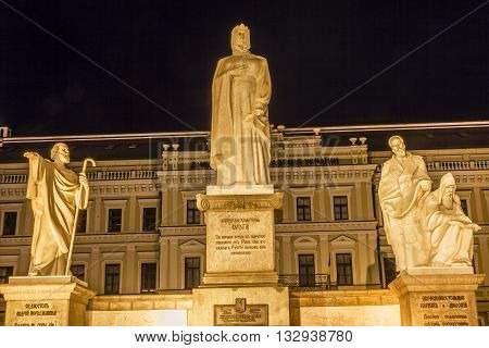 Saint Andrew Queen Olga Statues Night Stars Mikhaylovsky Square Kiev Ukraine in front of Saint Michael's Cathedral. Olga was a queen in 900s and first Russian Ruler to accept Christianity.