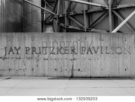 Chicago United States: May 26 2016: Jay Pritzker Pavilion Sign in Chicago's Millenium Park