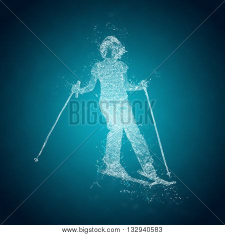 Abstract skier on a slope. Crystal ice effect
