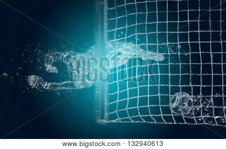 Abstract football (soccer) goalkeeper misses a ball. Crystal ice effect