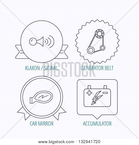 Accumulator, klaxon signal and generator belt icons. Accumulator linear sign. Award medal, star label and speech bubble designs. Vector