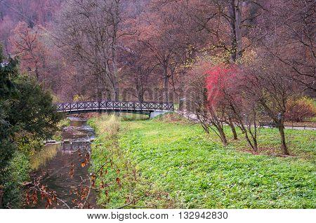 River Pradnik in Ojcow National Park at autumn Poland