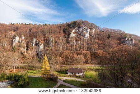 Autumn rocky landscape of Ojcow National Park Poland