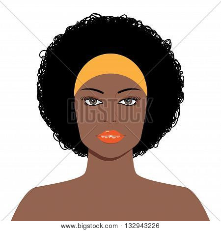 Vector Illustration of an Afro Girl with Curly Hair