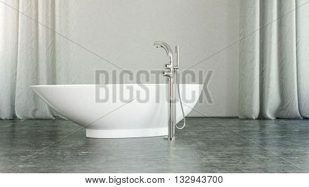 Modern freestanding white boat-shaped bathtub in a modern minimalist monochrome white and grey bathroom interior with long drapes on the windows , 3d rendering