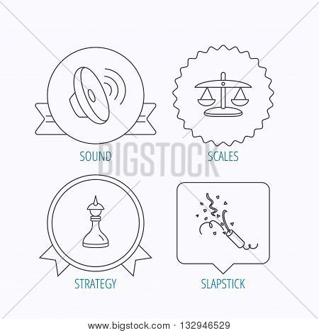Scales of justice, sound and strategy icons. Slapstick linear sign. Award medal, star label and speech bubble designs. Vector