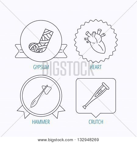 Gypsum, heart and medical hammer icons. Crutch linear sign. Award medal, star label and speech bubble designs. Vector