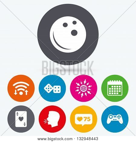Wifi, like counter and calendar icons. Bowling and Casino icons. Video game joystick and playing card with dice symbols. Entertainment signs. Human talk, go to web.