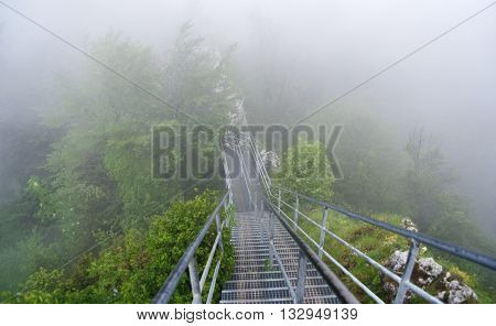 Stairs for Three Crowns hill in national park Pieniny