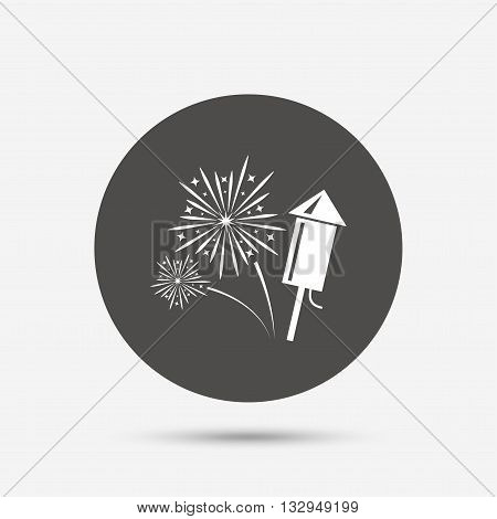 Fireworks with rocket sign icon. Explosive pyrotechnic symbol. Gray circle button with icon. Vector