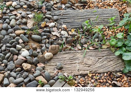 Stone walkway down in the garden natural morning.