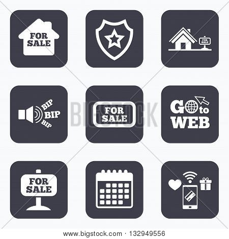 Mobile payments, wifi and calendar icons. For sale icons. Real estate selling signs. Home house symbol. Go to web symbol.