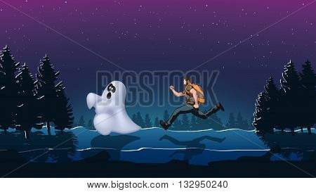 illustration of tourist run to ghost in the forest