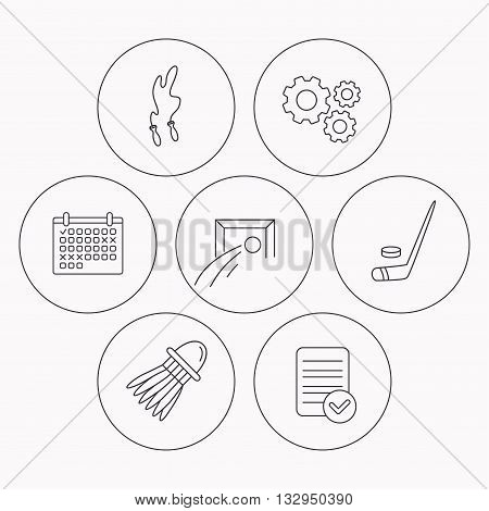 Skipping rope, football and ice hockey icons. Badminton linear sign. Check file, calendar and cogwheel icons. Vector
