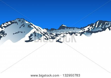 illustration of big snow mountains with blue sky