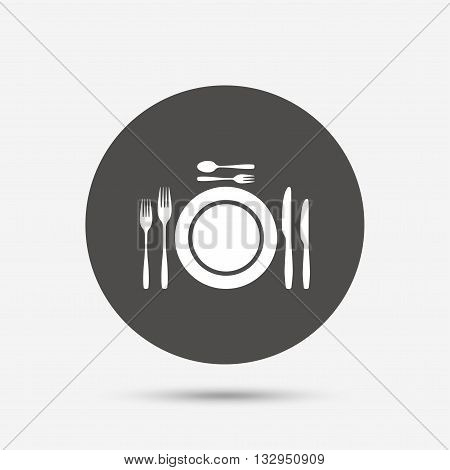 Plate dish with forks and knifes. Dessert trident fork with teaspoon. Eat sign icon. Cutlery etiquette rules symbol. Gray circle button with icon. Vector