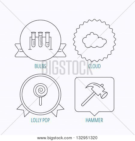 Hammer, lab bulbs and weather cloud icons. Lolly pop linear sign. Award medal, star label and speech bubble designs. Vector