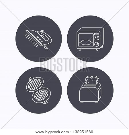 Microwave oven, waffle-iron and toaster icons. Steam ironing linear sign. Flat icons in circle buttons on white background. Vector poster