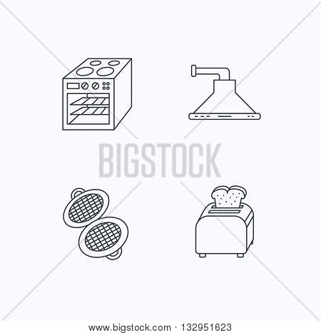 Oven, toaster and waffle-iron icons. Kitchen hood linear sign. Flat linear icons on white background. Vector
