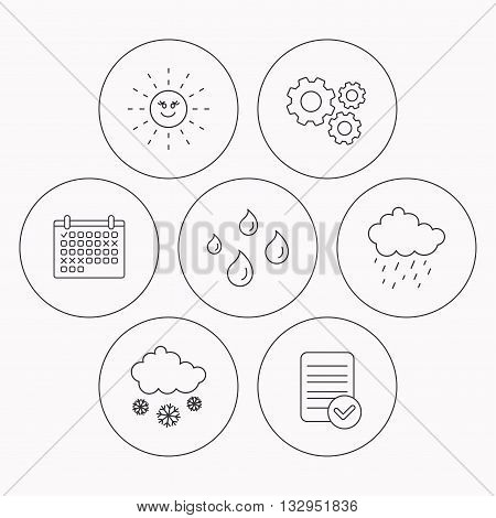 Weather, sun and rain icons. Snow linear sign. Check file, calendar and cogwheel icons. Vector