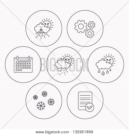 Snowflakes, sun and rain icons. Wind linear sign. Check file, calendar and cogwheel icons. Vector