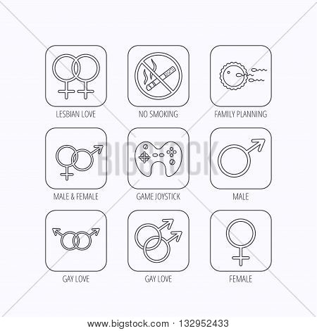 No smoking, family planning and game joystick icons. Male, female and couple linear signs. Gay, lesbian love icons. Flat linear icons in squares on white background. Vector