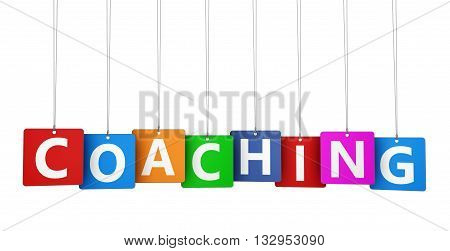 Coaching lifestyle and business concept with coaching sign and word on colorful paper tags 3D illustration isolated on white background.