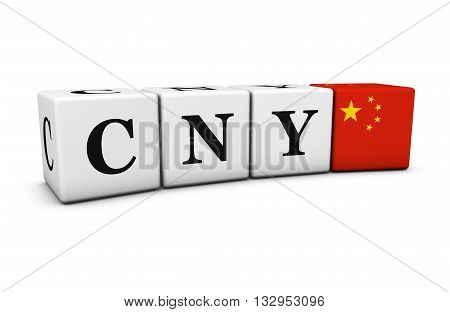 China currency code chinese exchange market and financial concept with CNY Chinese Yuan Renminbi sign and the flag of China 3D illustration.