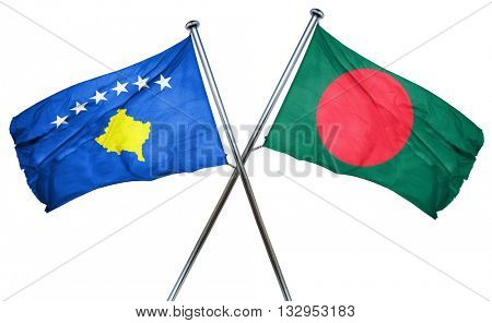 Kosovo flag with Bangladesh flag, 3D rendering