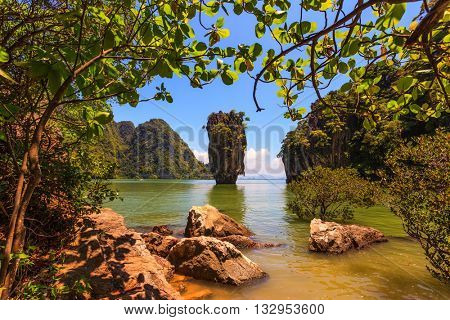 Freakish islands in the Andaman Sea. James Bond's island in the form of a vase. Fine rest in Thailand