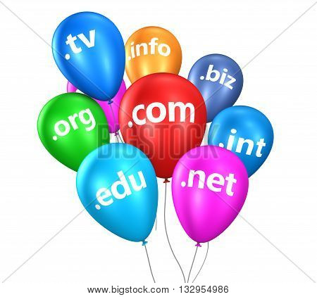 Domain name concept with Internet and web domain names sign on colorful floating balloons 3D illustration isolated on white background.