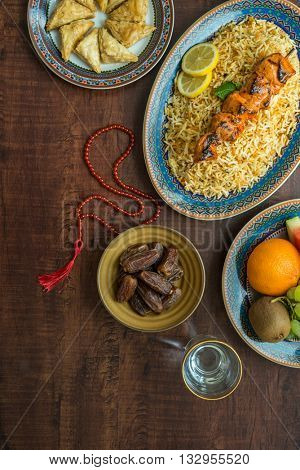 A typical spread of Iftar food dishes. A variety of food is consumed after sunset during Holy month of Ramadan.