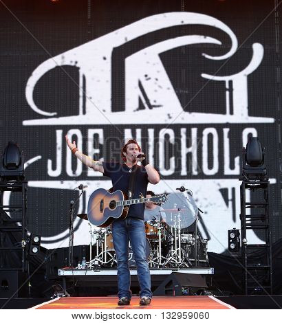 NEW YORK-JUN 26: Country musician Joe Nichols performs onstage at the 2015 FarmBorough Festival - Day 1 at Randall's Island on June 26, 2015 in New York City.