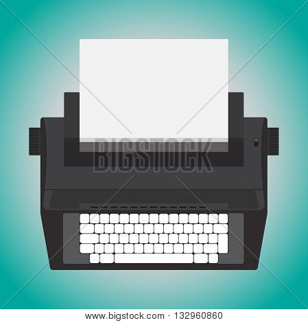 retro design electric typewriter isolate on blue background. Vector illustration.