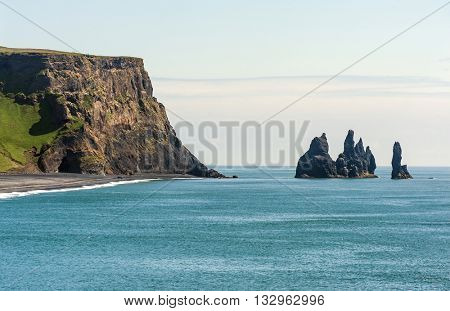 Reynisdrangar rock formations near Vik, Iceland