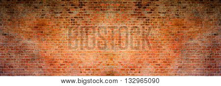 Old brick wall pattern texture. Red brick background. High resolution panorama.
