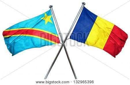 Democratic republic of the congo flag with Romania flag, 3D rend