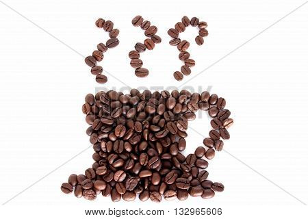 Coffee cup made of coffee beans, background