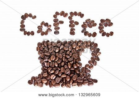 Coffee cup made of coffee beans, alphabet background