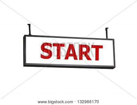 Start signboard on white background, stock photo